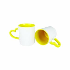Caneca alça de coração e Interior  Amarela de porcelana 325ml