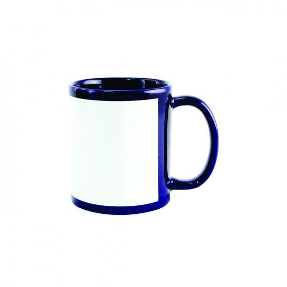 Caneca  Azul Escuro com Tarja Branca de porcelana 325ml